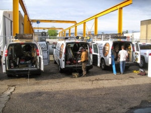Plumbing and Heating loading vans